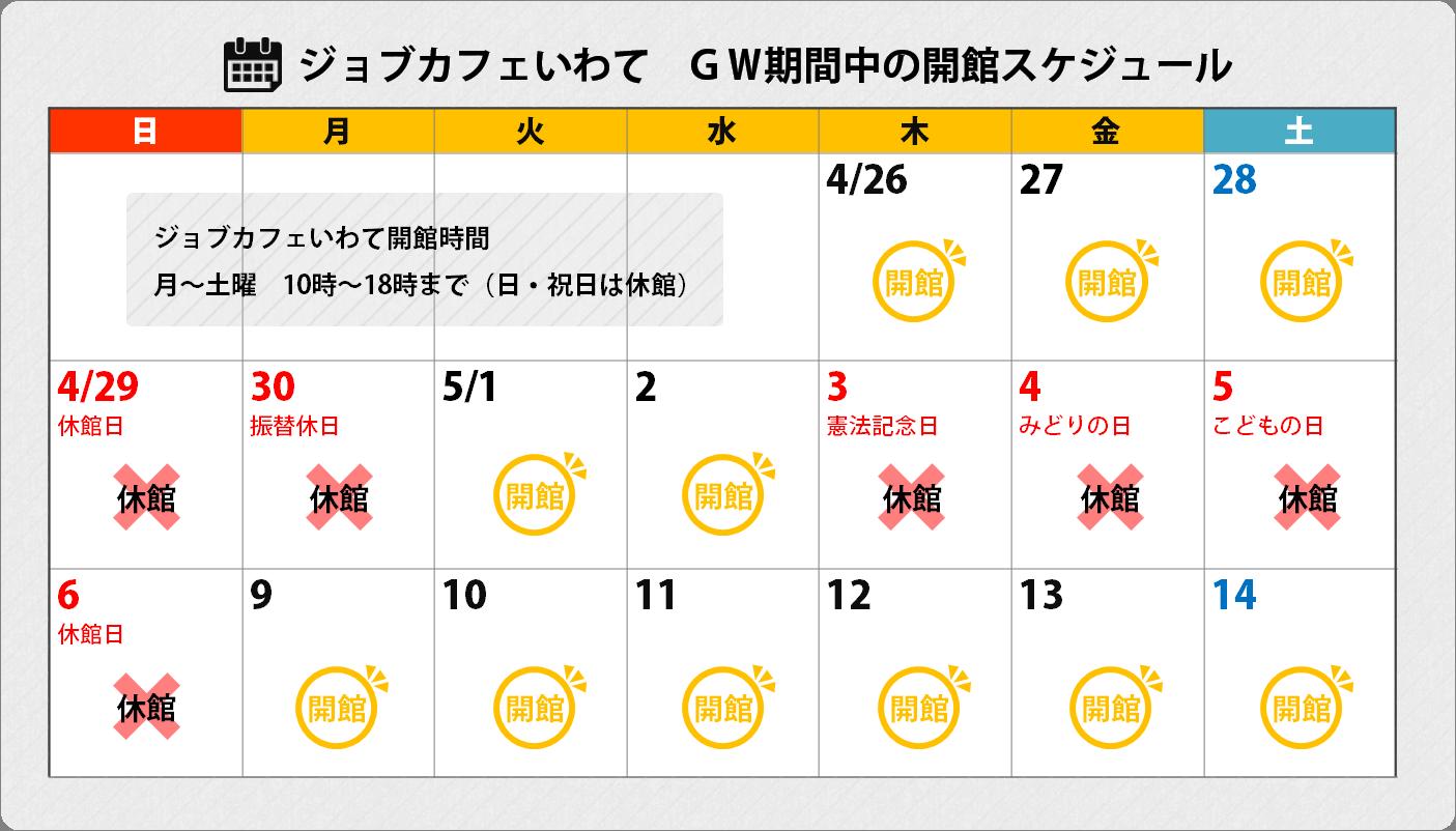 GWの開館スケジュール